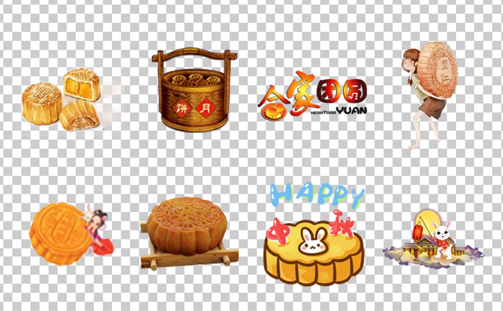 01111中秋节月饼手绘卡通月饼插画全家吃月饼赏月各种