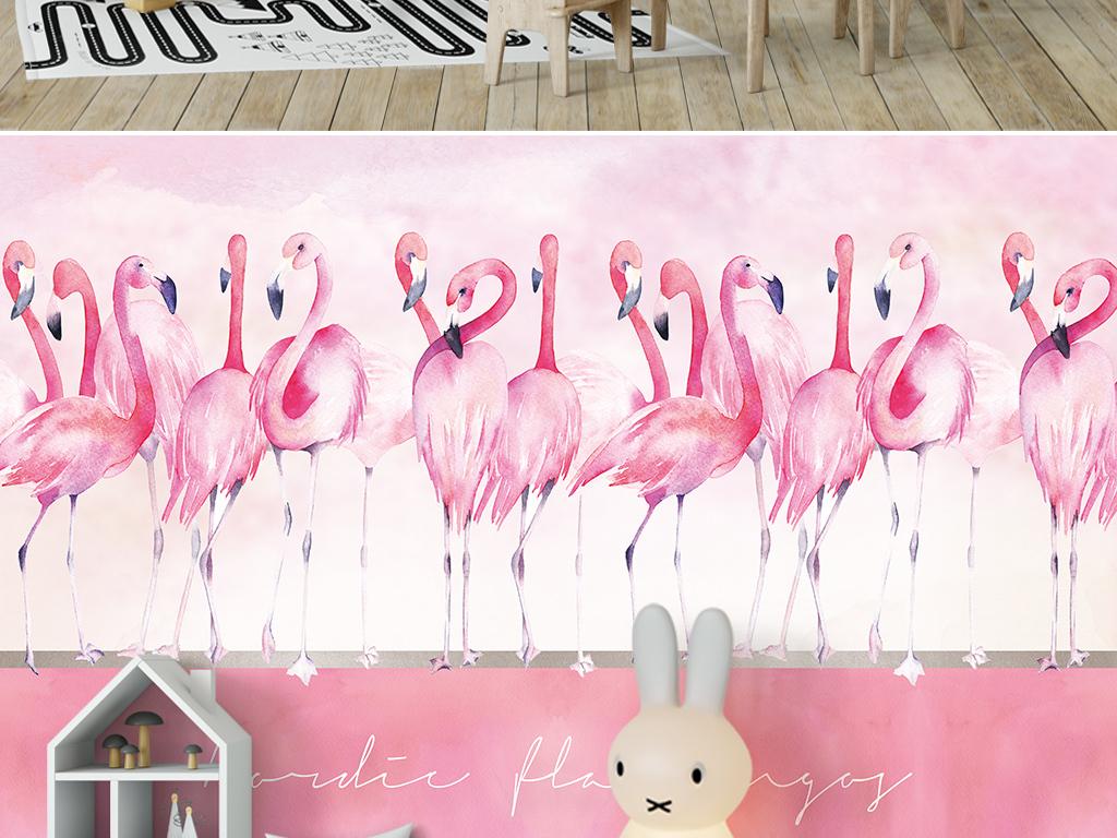 北欧ins手绘粉色火烈鸟背景墙