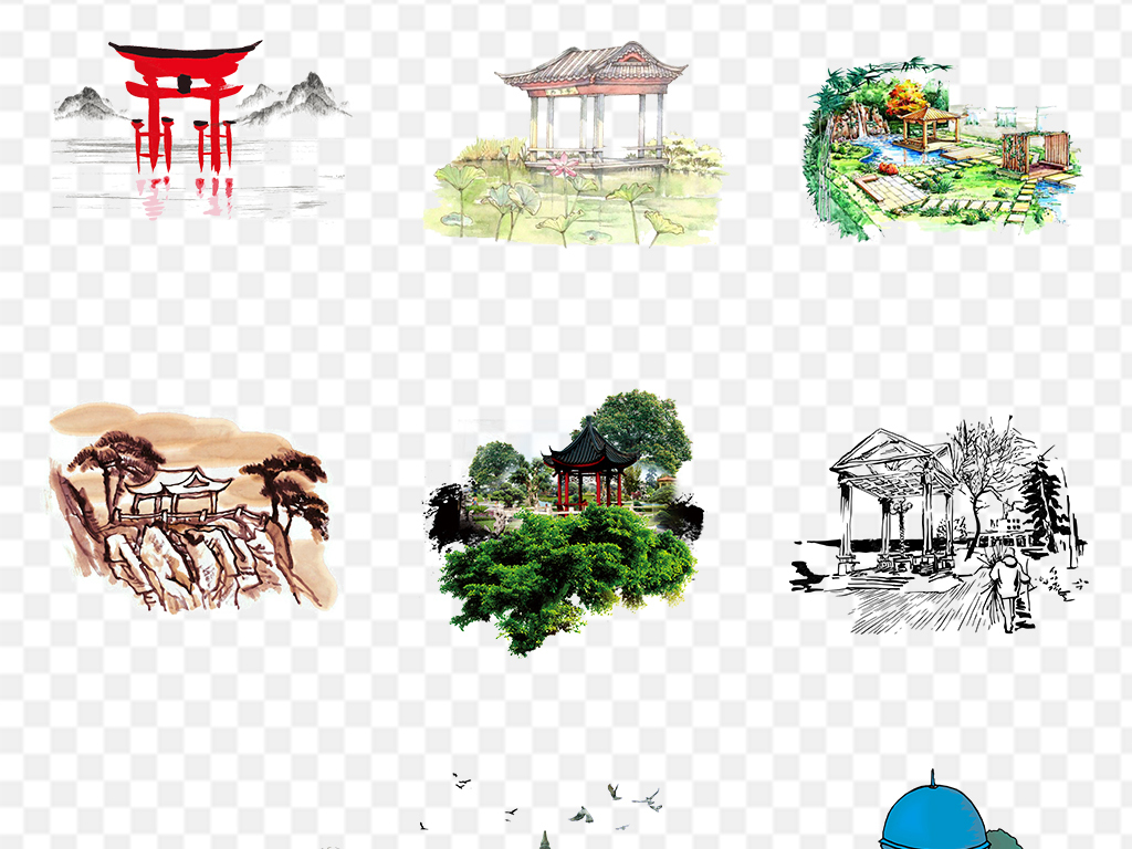 手绘中国风亭子png图片素材_模板下载(56.01mb)_城市