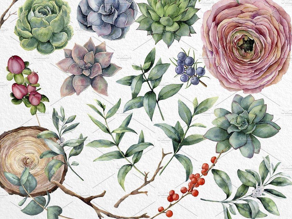 手绘叶子水彩花环
