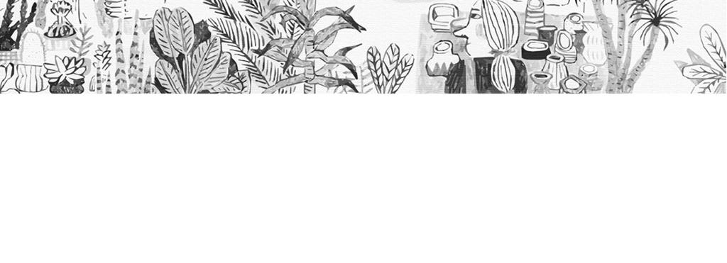 手绘黑白植物园游览