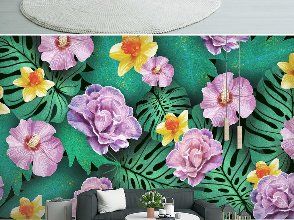 背景墙 电视背景墙 手绘电视背景墙 > 北欧小清新热带雨林芭蕉叶花卉