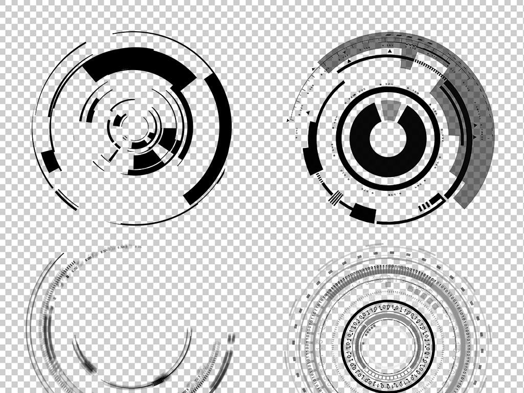 科技水墨圆环圆圈边框免扣png