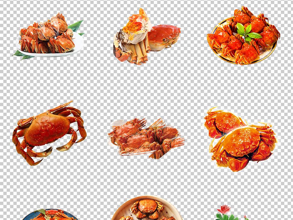卡通螃蟹卡通小螃蟹红螃蟹卡通手绘卡通美味香辣蟹河蟹美食大闸蟹