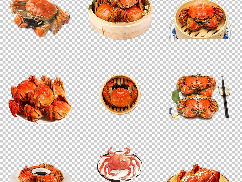 卡通螃蟹卡通小螃蟹红螃蟹卡通手绘卡通美味香辣蟹河蟹美食大闸
