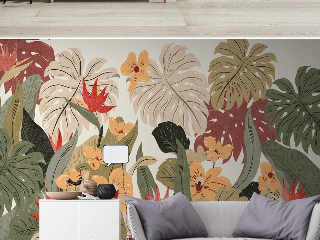 北欧热带植物芭蕉叶复古电视背景墙壁画
