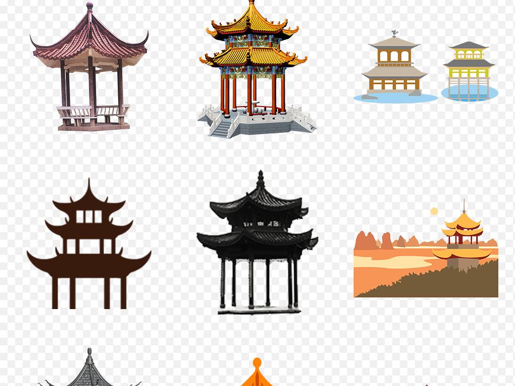 免抠元素 生活工作 城市建筑 > 手绘中国风亭子海报素材背景图片png