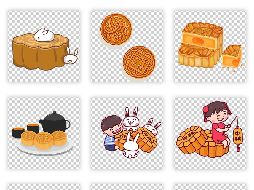 中秋节八月十五嫦娥玉兔手绘月饼素材元素