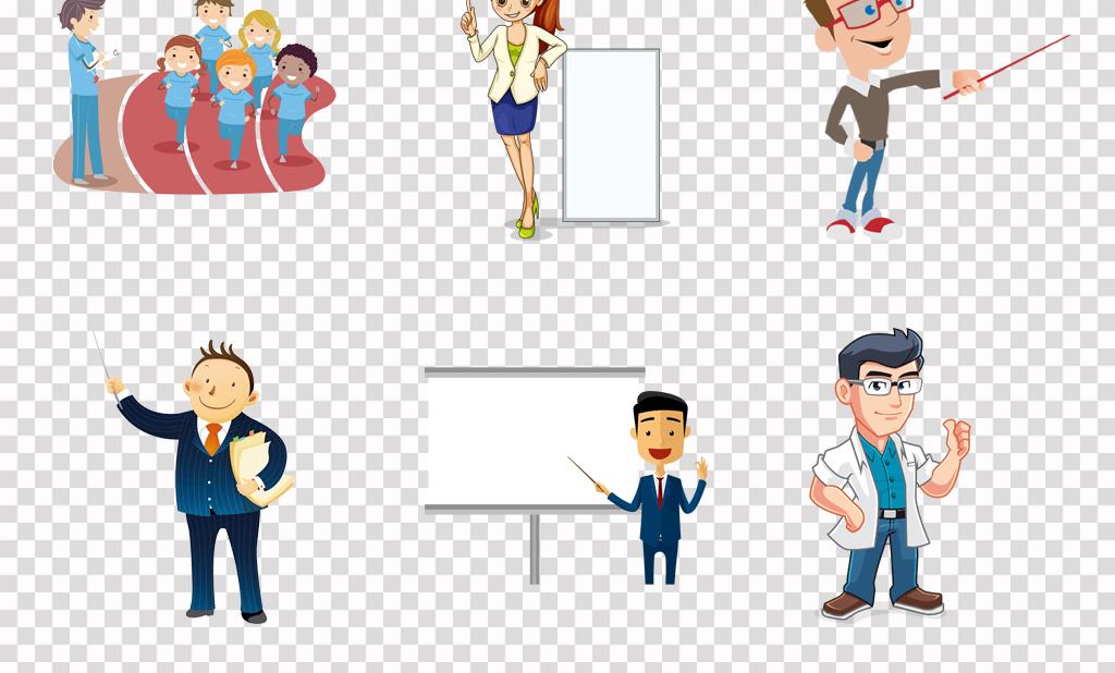 可爱卡通男老师女老师讲课上课海报背景png素材图片