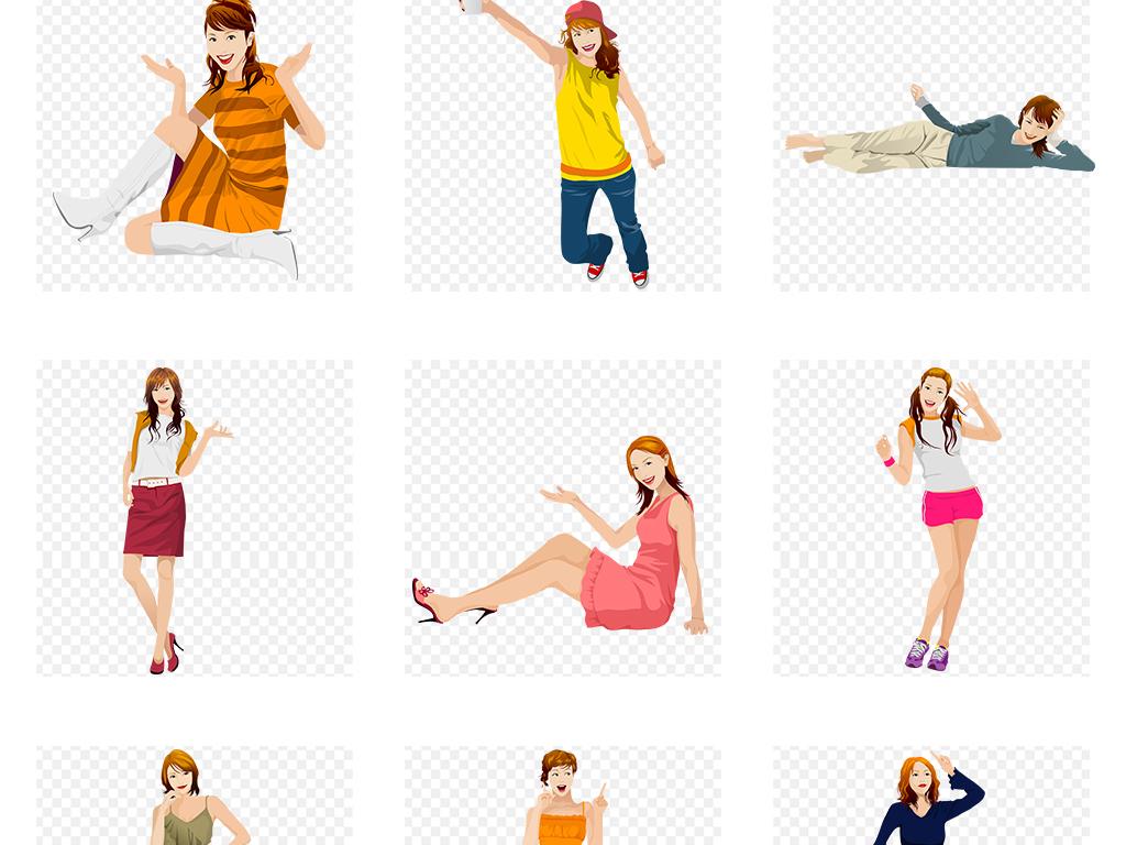 手绘彩绘卡通时尚美女模特png素材图片_模板下载(56.