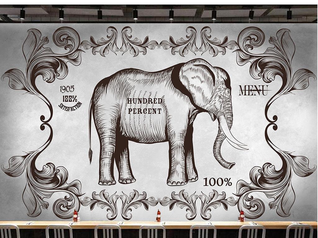 美式西部手绘黑白素色大象个性餐厅背景墙装饰画