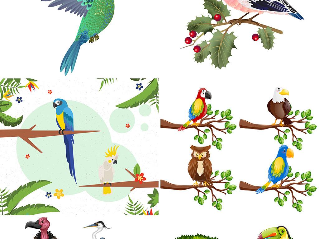 矢量卡通水彩手绘鸟类小鸟麻雀绿植背景图片