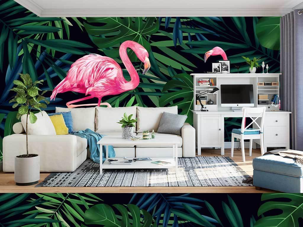 北欧ins手绘植物火烈鸟客厅背景墙壁纸壁画