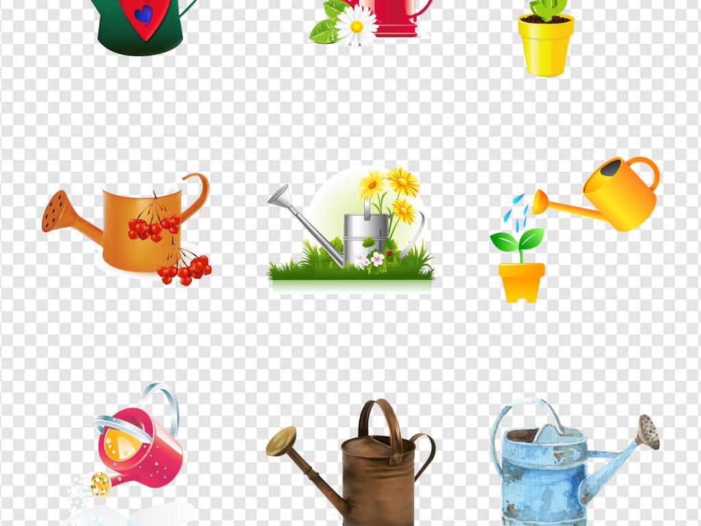 鲜花店图标水壶洒水壶浇水壶手绘海报素材