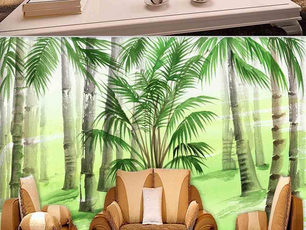 新中式手绘简约绿色竹林写意电视背景墙
