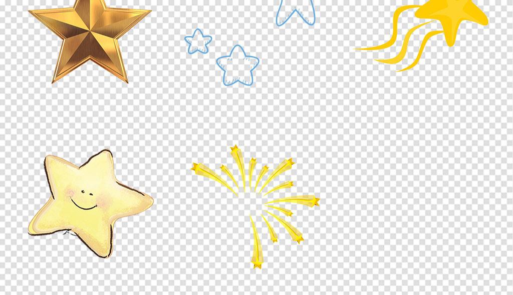 立体黄色五角星手绘卡通星星png免扣素材
