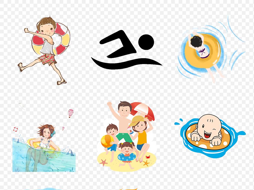夏天卡通儿童游泳体育运动海报素材背景图片png