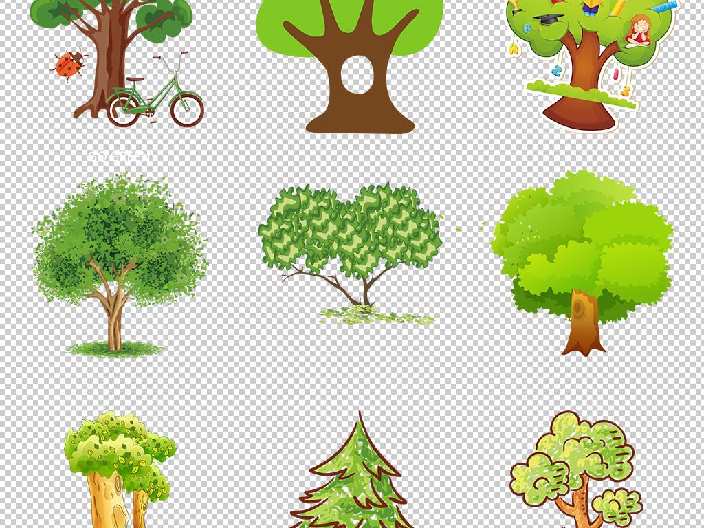 创意手绘抽象卡通树大树png免抠素材