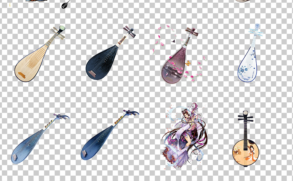 01148琵琶古典中国风乐器琵琶手绘唯美乐器琵琶素材免