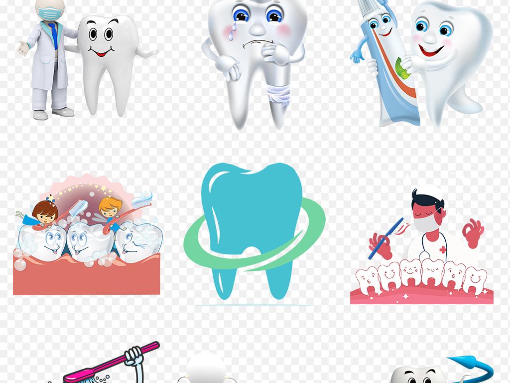 卡通牙齿保护牙科刷牙知识海报素材背景图片png