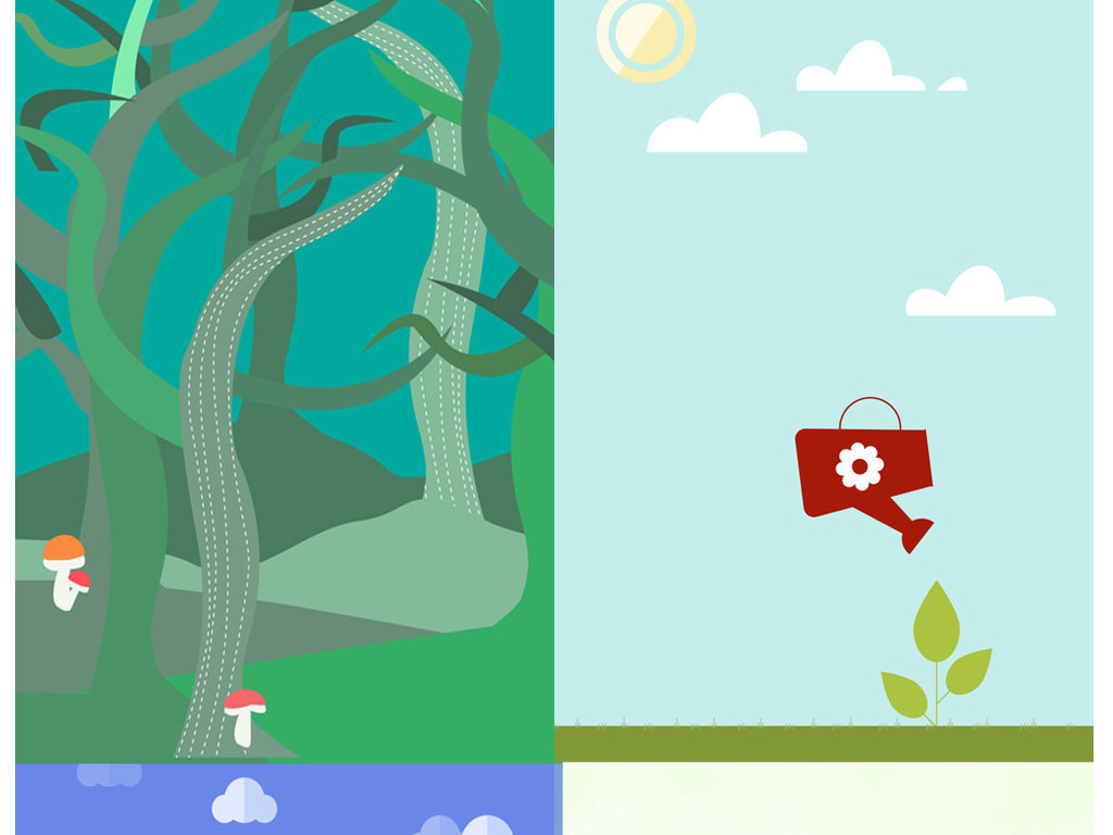 手绘绿色环保海报保护地球家园展板背景素材
