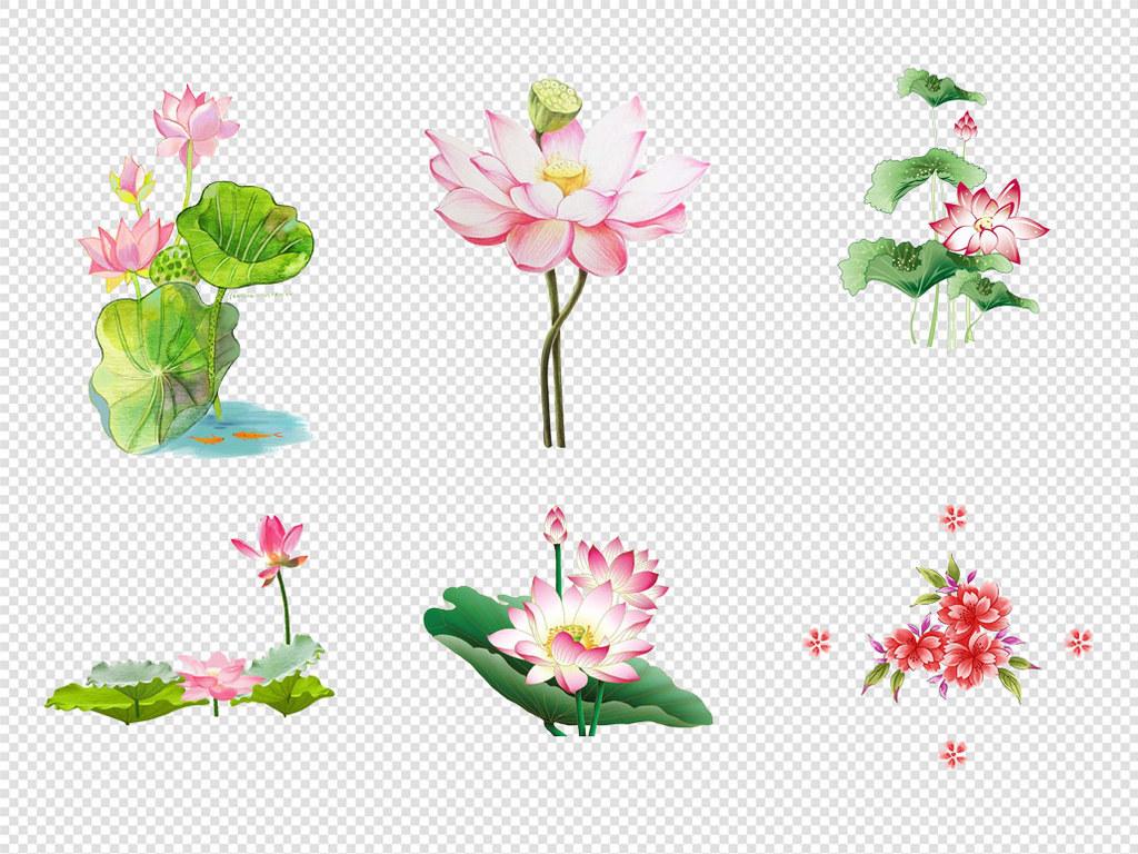 手绘卡通水墨荷花莲花荷叶花朵png素材