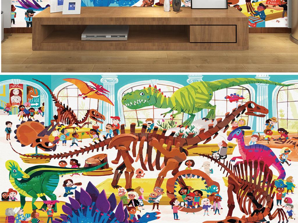 手绘儿童恐龙博物馆