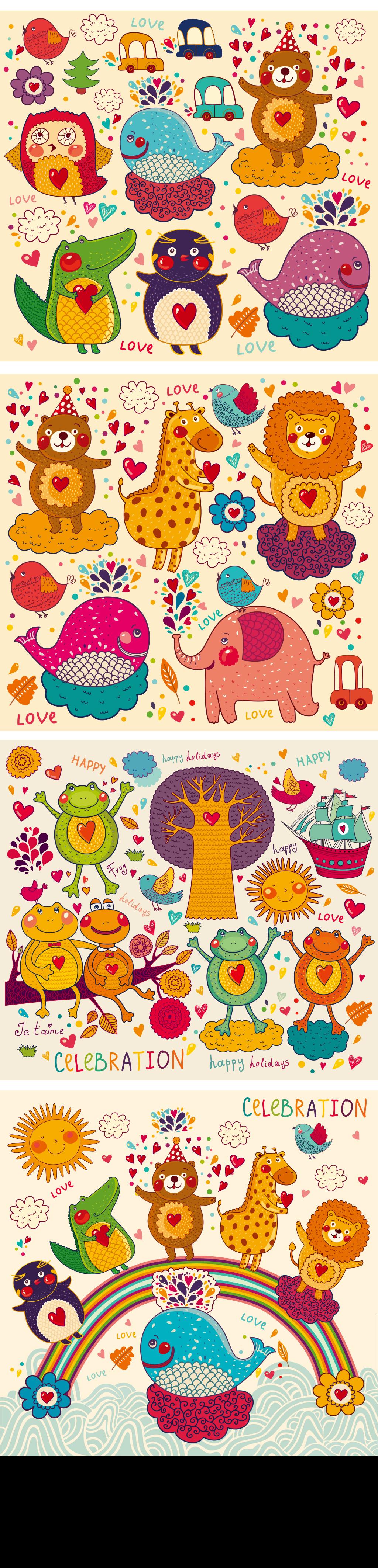 卡通可爱手绘动物植物插画ai矢量素材合集