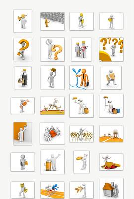 44款橙色3D商务小人PPT人物素材