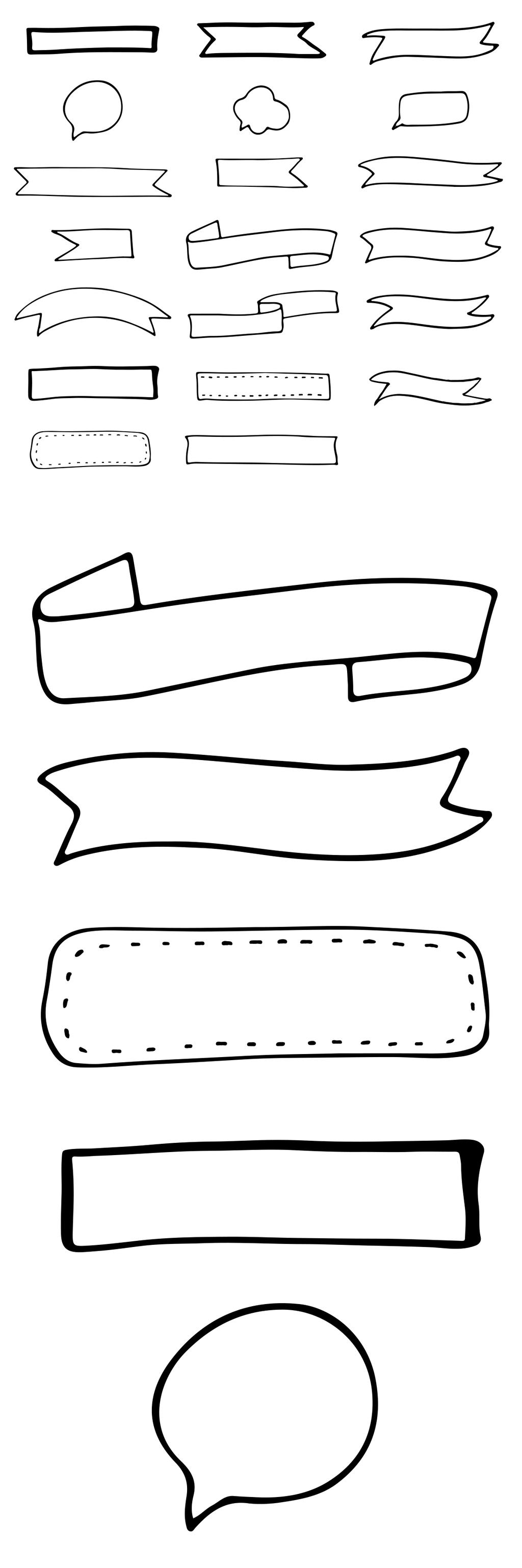 2017黑白简约手绘线条飘带彩带矢量边框素材