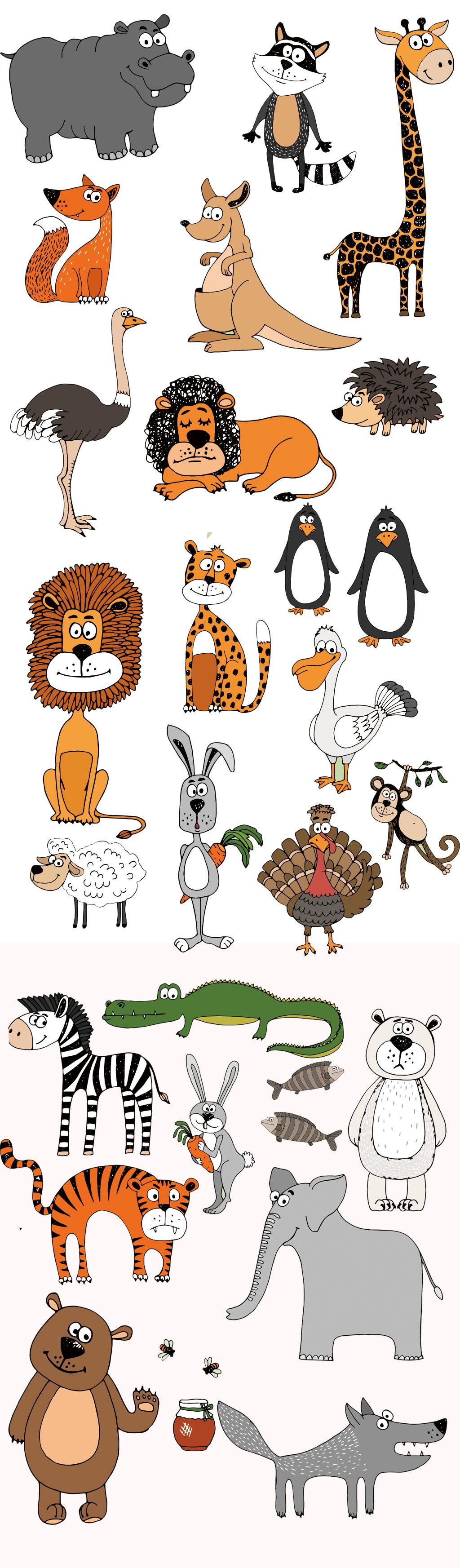 手绘卡通平面动物eps矢量图素材合集