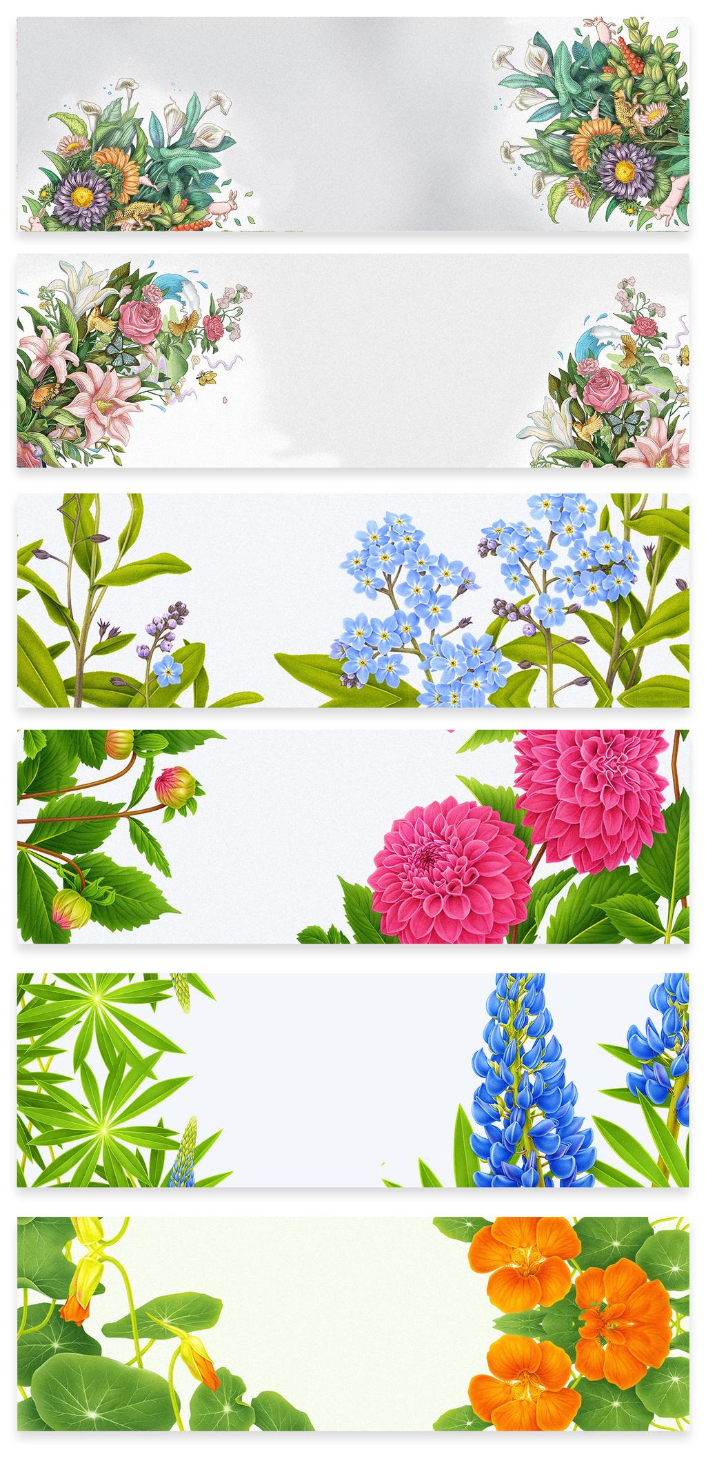 设计元素 背景素材 卡通边框 > 中国风植物手绘电商海报背景