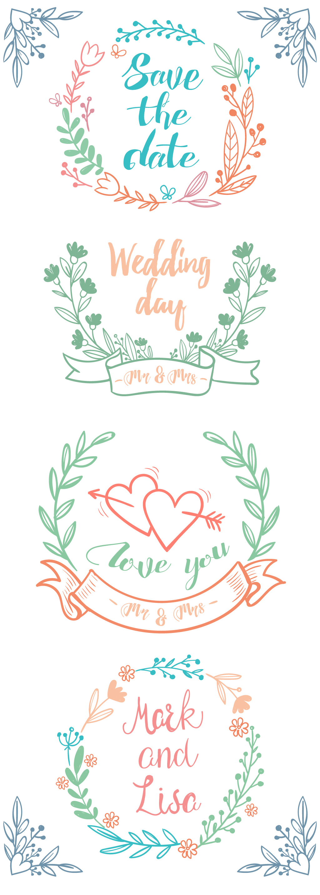 手绘水彩植物花卉婚礼设计元素手绘花边矢量