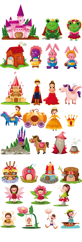 手绘卡通童话王国城堡青蛙eps矢量素材