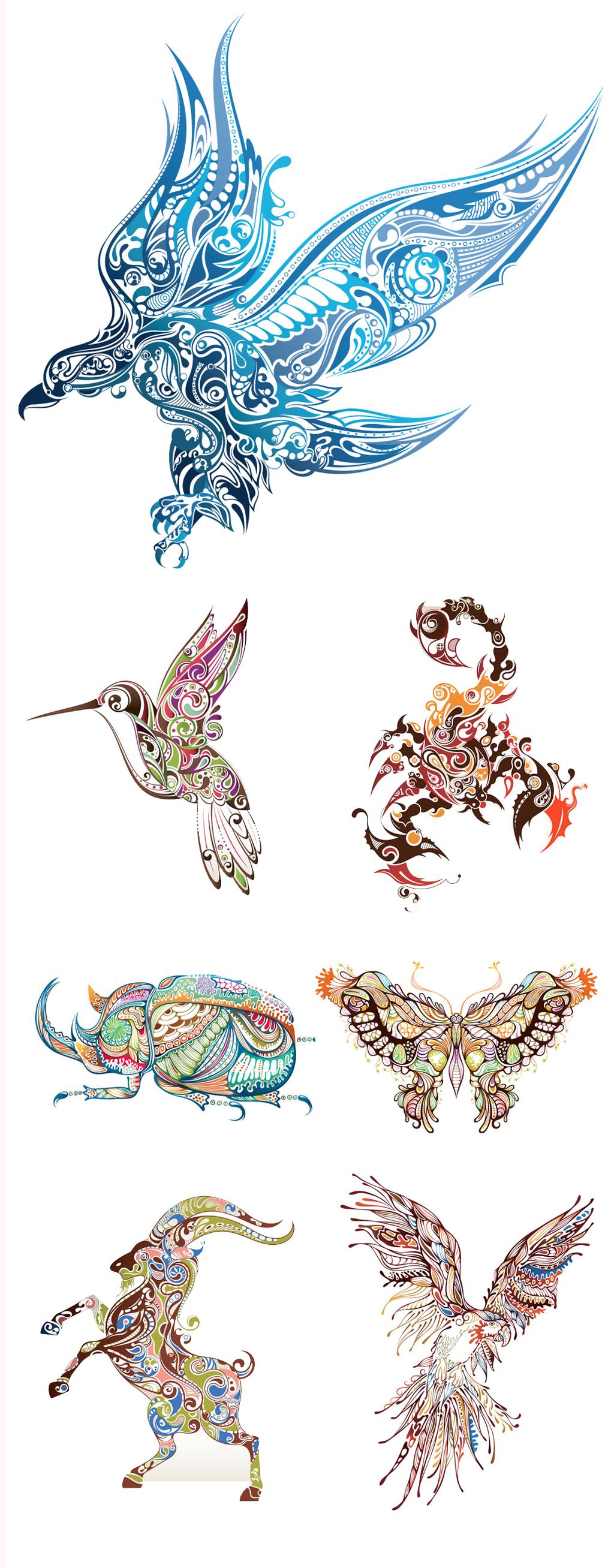 手绘彩绘动物纹身图案eps矢量图形素材