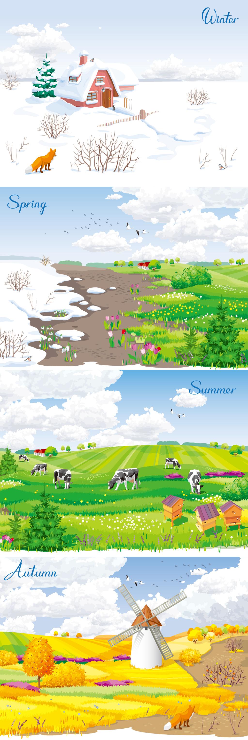夏天风景简笔画带颜色