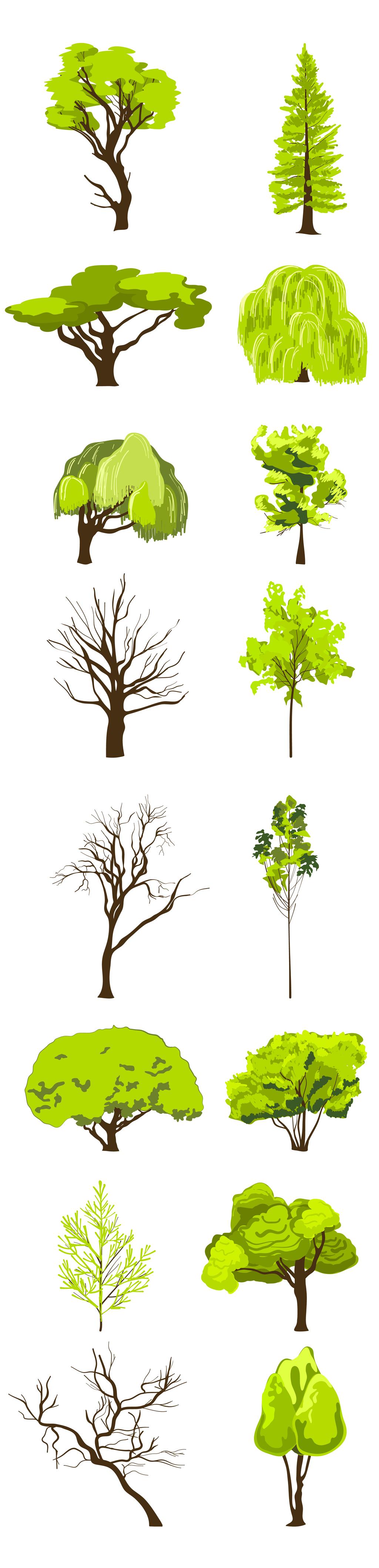 创意手绘卡通树树干矢量素材