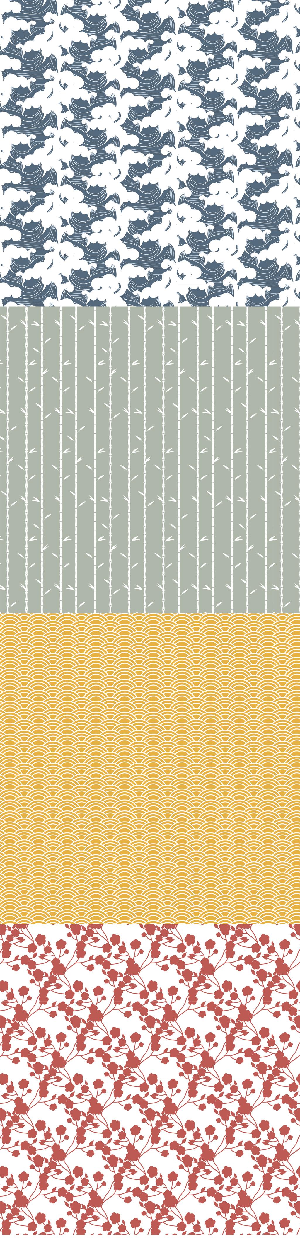 手绘中国风背景图案底纹波浪底纹祥云.图片设计素材