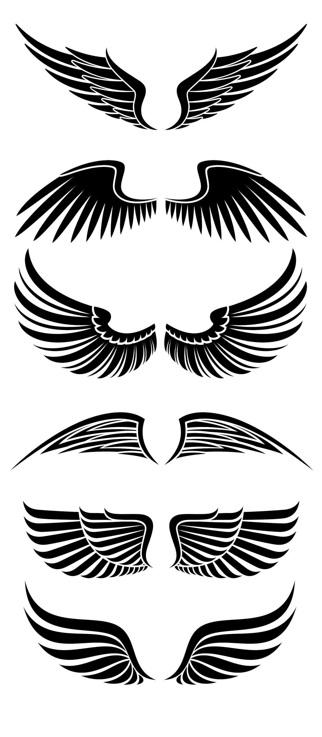 卡通手绘天使翅膀剪影