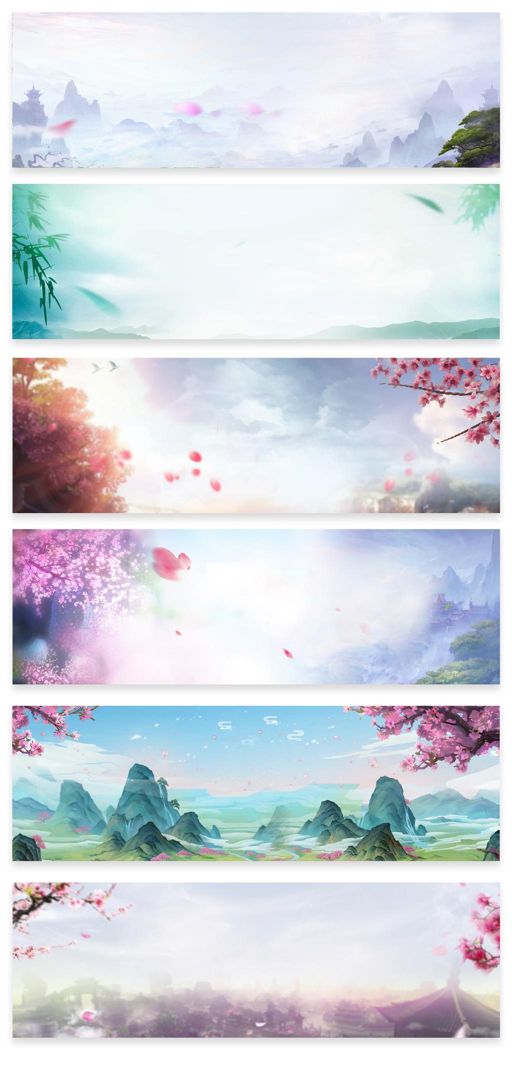 手绘中国风场景背景海报背景图片设计素材_高清psd(36