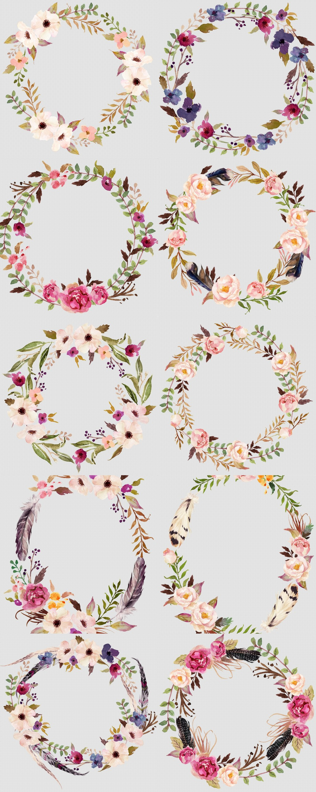高清森系花草树叶手绘花朵花卉花环透明免扣