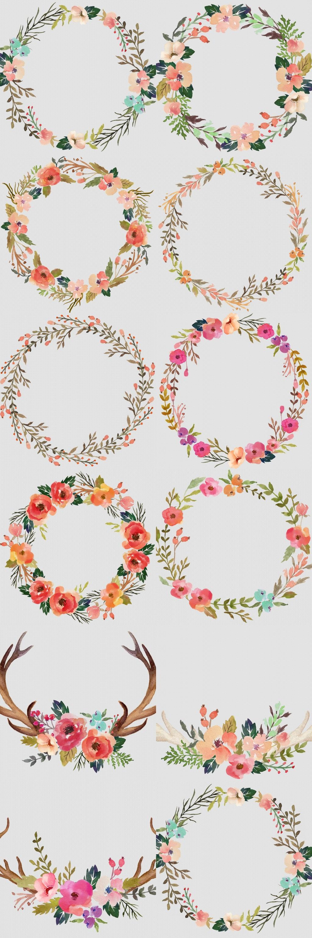 高清森系花草树叶手绘花朵花卉花环p.图片设计素材