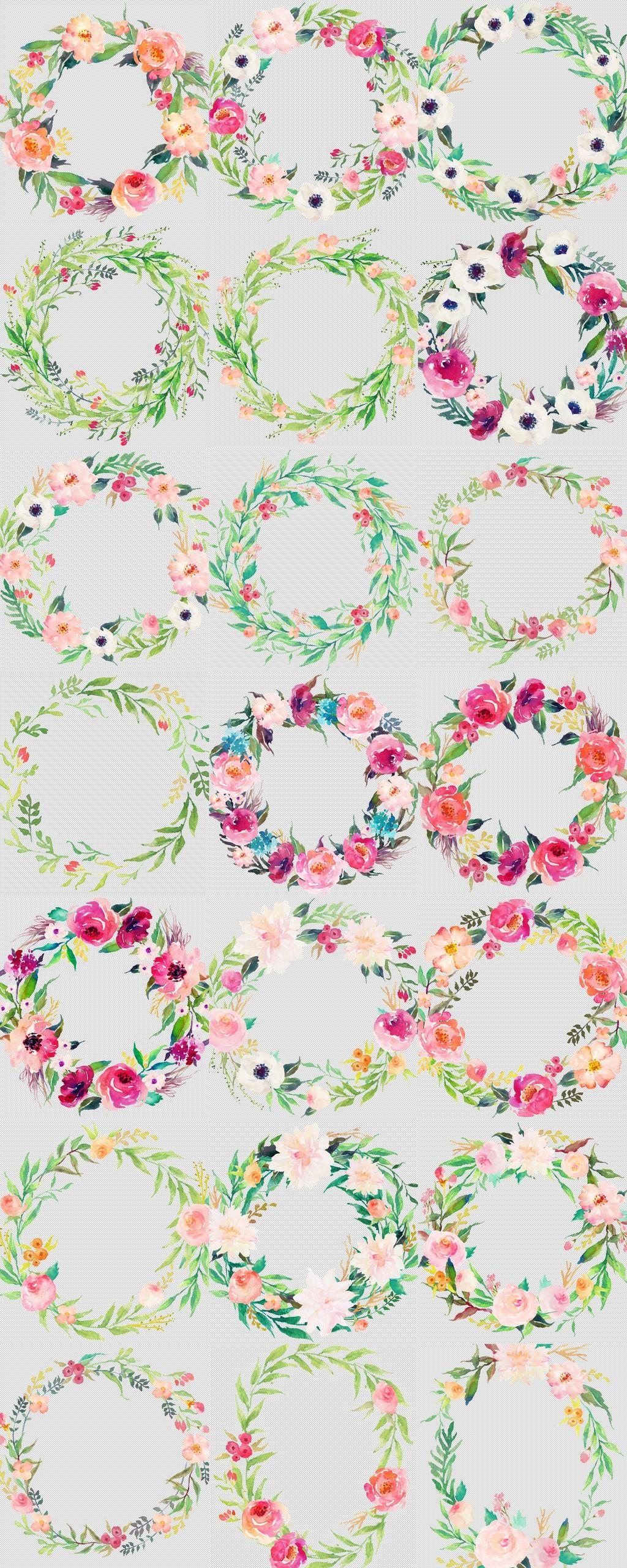 森系花草树叶手绘花朵花卉花环透