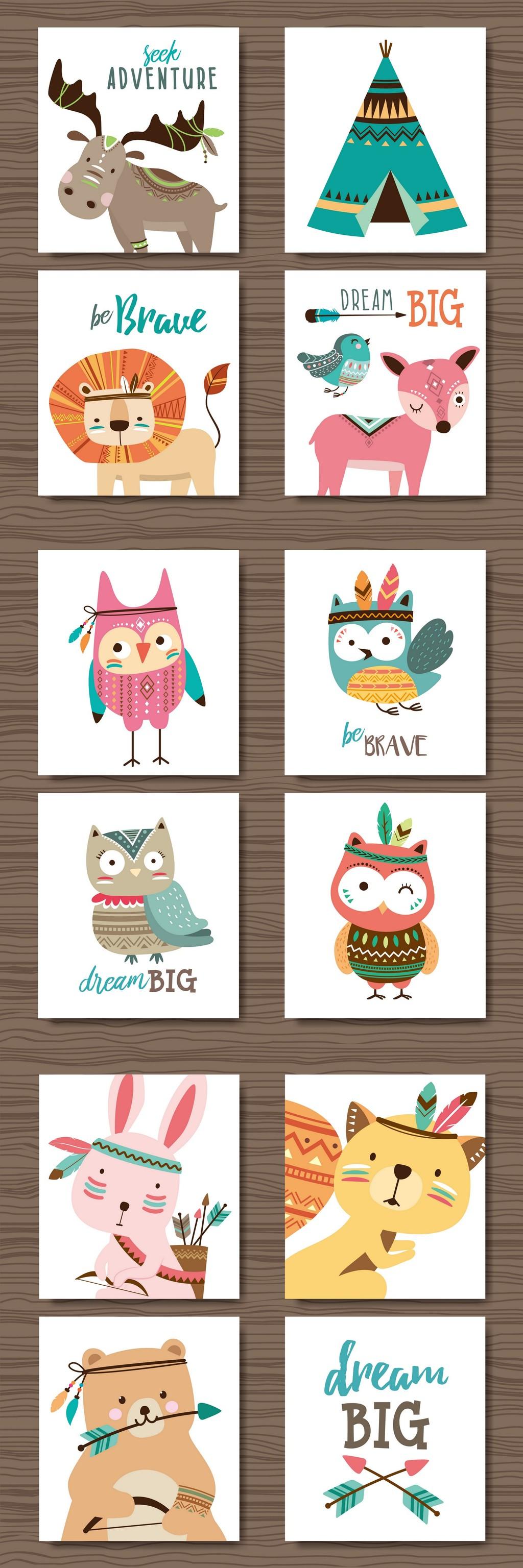 森系手绘动物装饰插画背景元素设计矢量图片