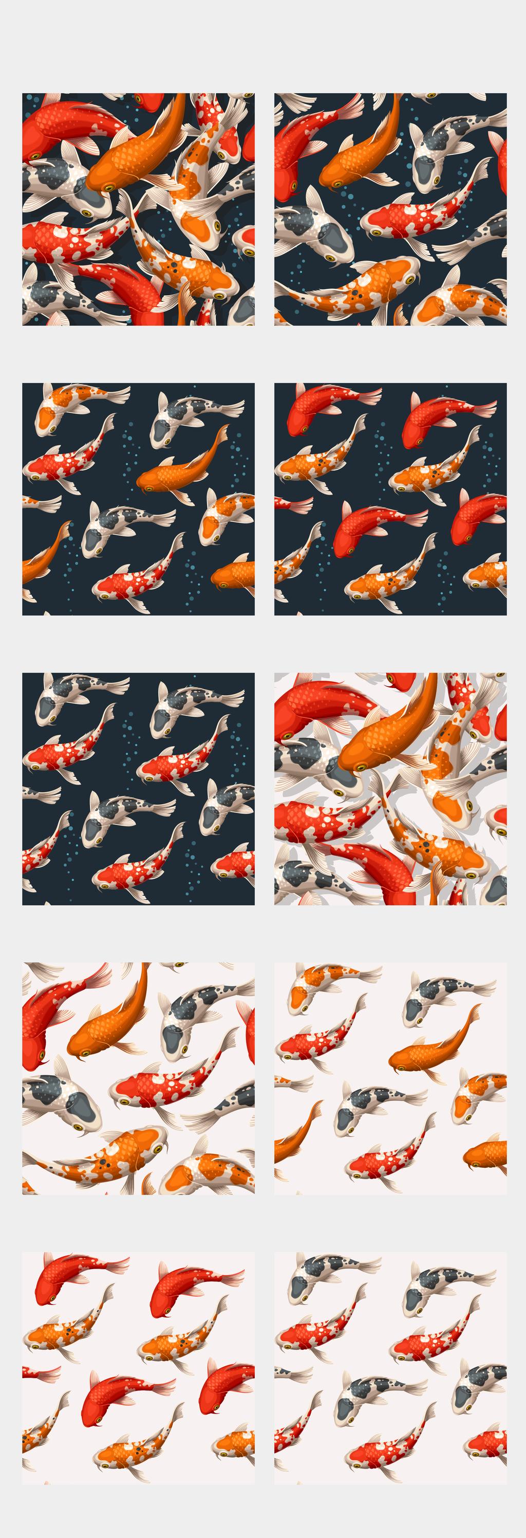 锦鲤古典中国风动物矢量素材