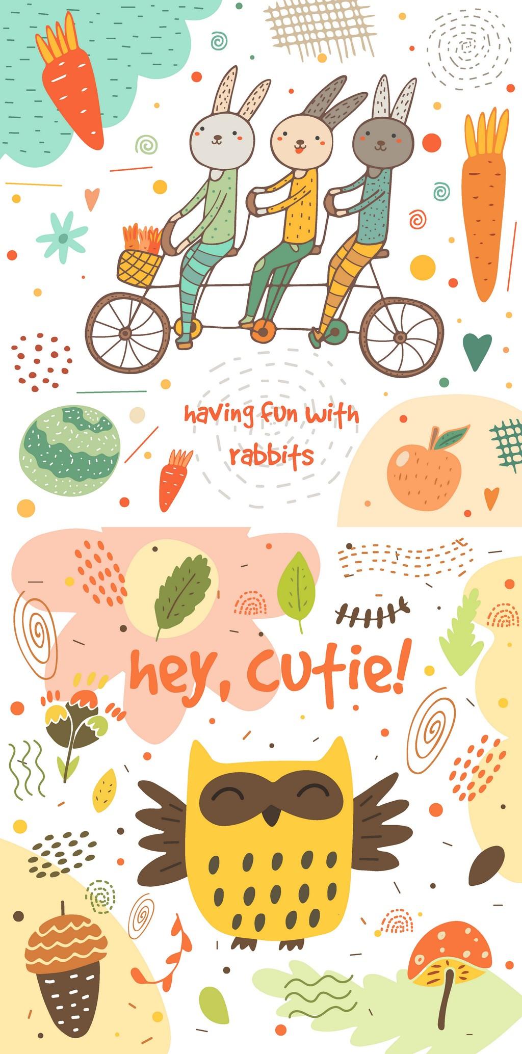 卡通插画动物装饰海报卡片矢量背景元素设计