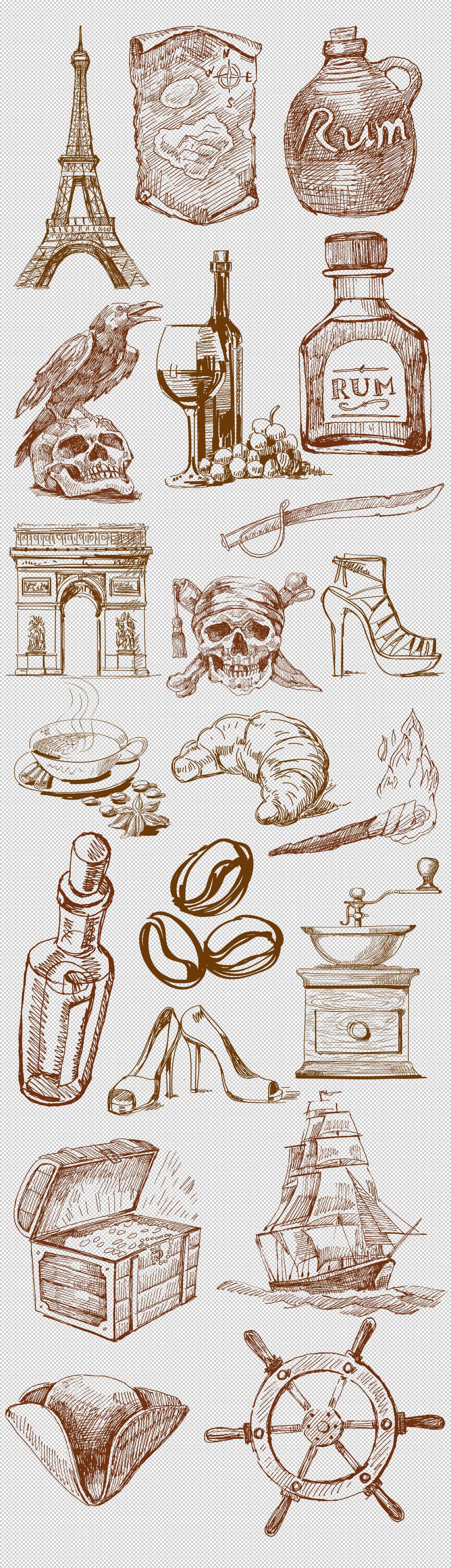 手绘复古欧式建筑素材合辑