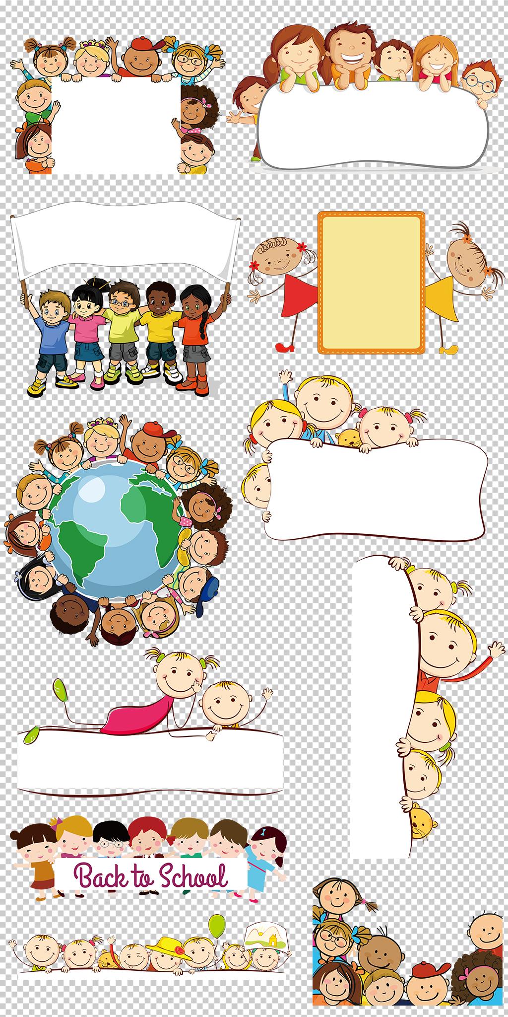 卡通儿童小孩学生幼儿开学季图片素材图片