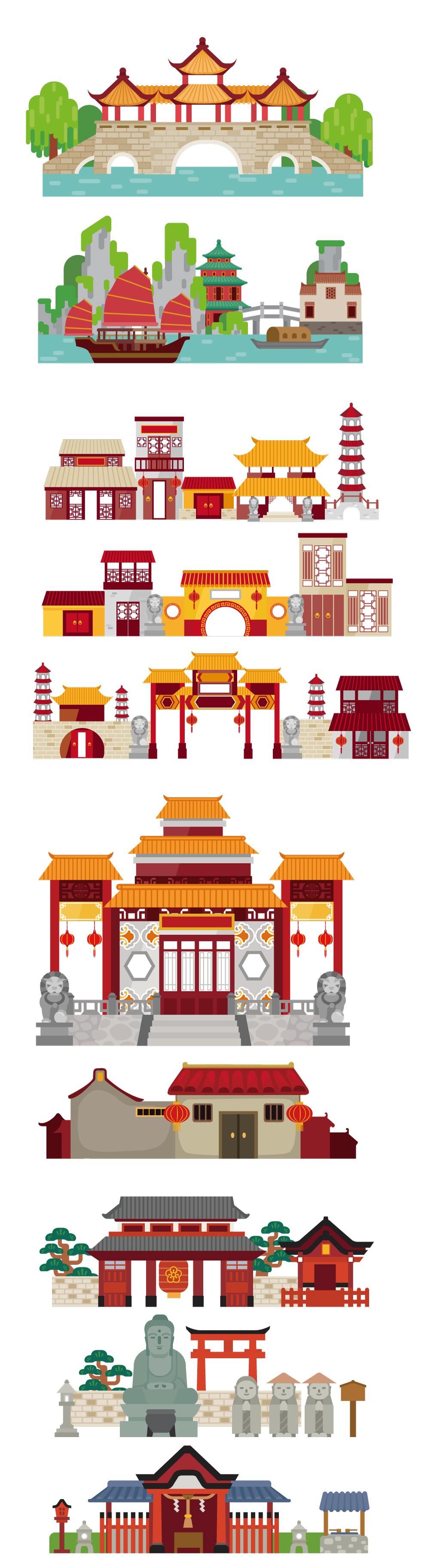 中国风建筑剪影商店手绘卡通店铺日式素材