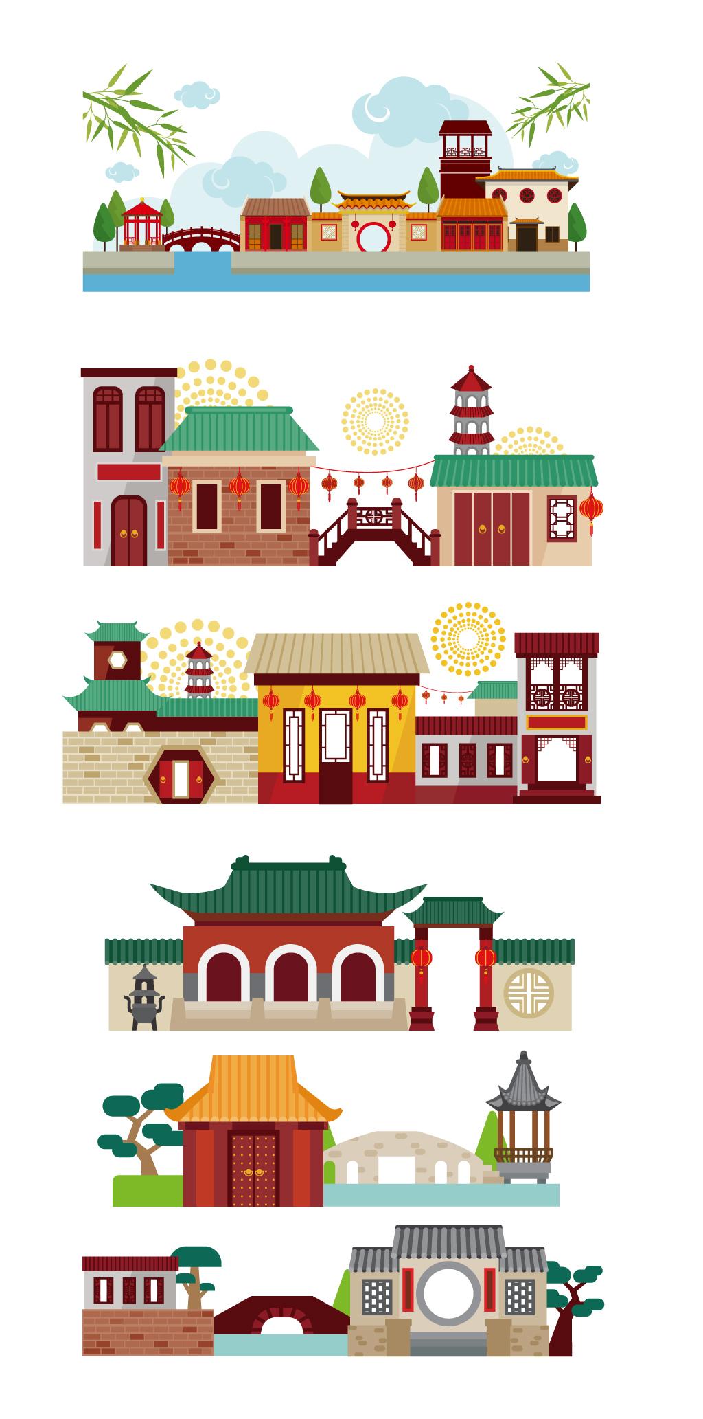 中国风建筑剪影商店手绘卡通店铺寺庙素材
